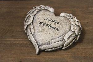Sivé srdce s nápisom a krídlami 12cm