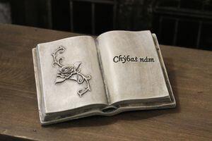 Sivá kniha s nápisom chýbaš nám 14cm