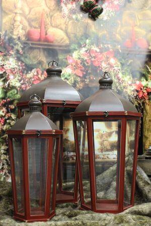Červené tmavé drevené lampáše 3-set