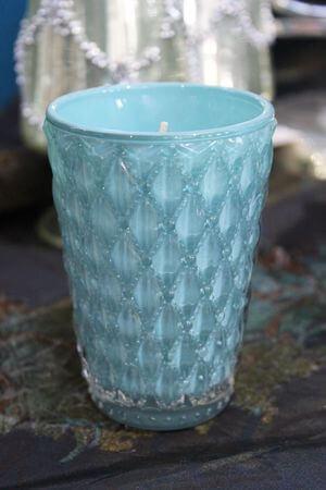 Modrá tiffany voňavá sviečka v luxusnom pohári