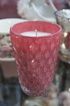 Ružová voňavá sviečka v luxusnom pohári 11cm