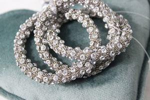 Strieborné luxusné spojené prstene na servítky 5cm